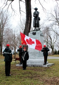 Cadets from Gananoque's 492 Military Police Royal Canadian (Army) Cadet Corps stand vigil at the cenotaph in the Town Park in Gananoque in honour of the memory of those troops who fought so nobly at Vimy Ridge on April 9, 1917