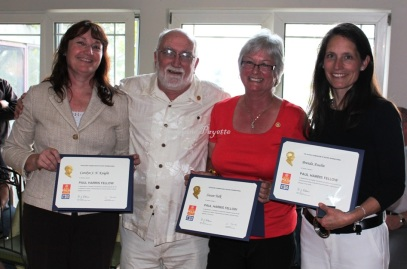 On June 11, the Gananoque Rotary Club handed out its latest Paul Harris Fellowship Awards at their final meeting of the year. L-r, Recipients Carolyn Knight, Don Matthews, Susan Tulk and Brenda Asselin.