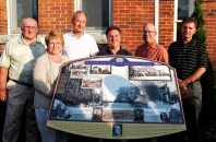 L-r, Athens Mayor Herb Scott; Kathryn Hudson, Athens and Area Historical Society; Brian Phillips, local historian and graphic designer; MP Gord Brown and MPP Steve Clark, Leeds-Grenville; and Tom Russell, Thousand Islands Community Development Corporation