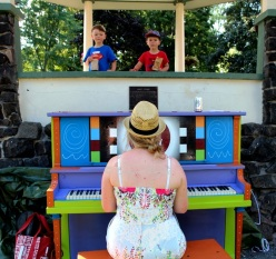 Monika Seiler plays for two young fans