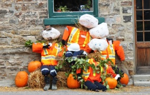 Scarecrows may be as funny, serious or scary as the creator wants them to be
