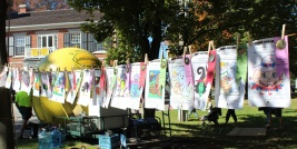 A line full of prize winning art by local young people