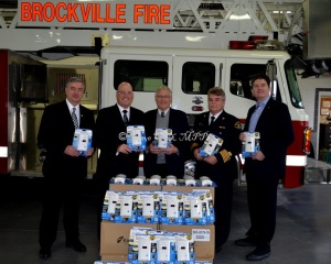 The Insurance Bureau of Canada donated 65 carbon monoxide detectors to the City of Brockville Fire Department on Tuesday, January 14 in an event to promote the use of the life-saving devices and passage of PC MPP Ernie Hardeman's Private Member's Bill mandating them for all Ontario residences. Pictured from the left are: Brockville City Councillor Mike Kalivas, Leeds-Grenville MPP Steve Clark, Oxford MPP Ernie Hardeman, Brockville Fire Chief Chris Dwyre and Doug DeRabbie of the Insurance Bureau of Canada.