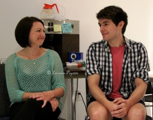 Alison MacDonald (Mabel) and Adam Charles (Frederic) taking a break in the green room.