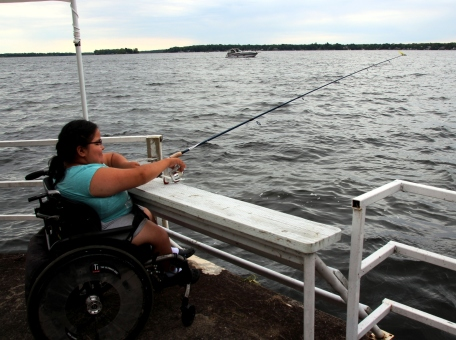 Fishing off of the specially designed ramp